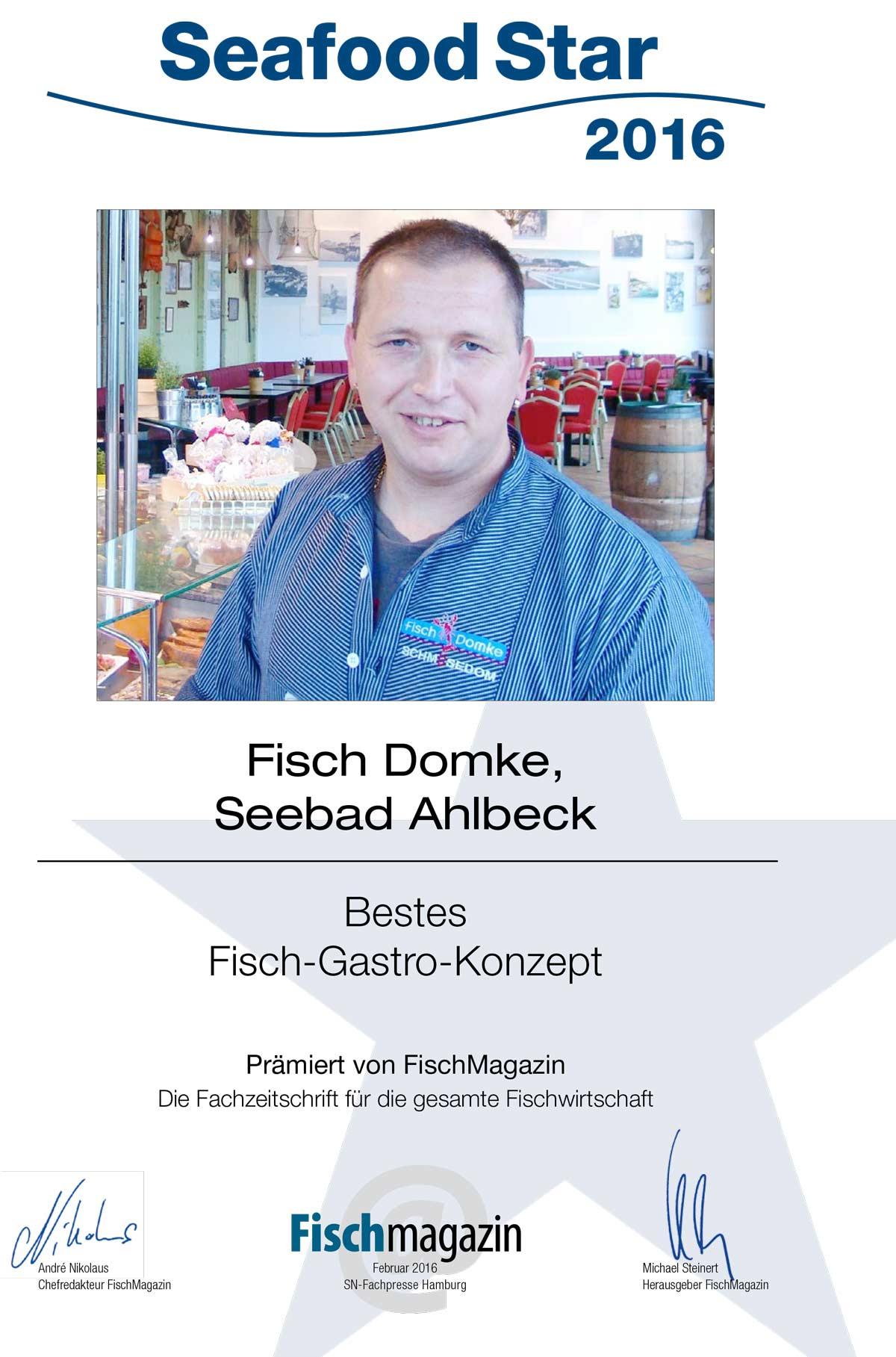 Urkunde Seafoodstar 2016